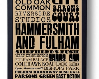 Hammersmith & Fulham, London Typography Art Print