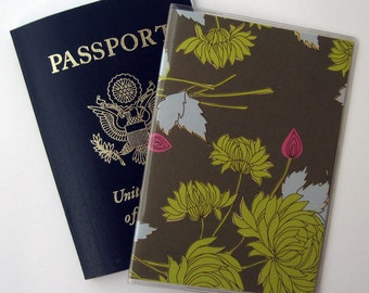 Passport Cover Case Holder Lime Green and Hot Pink Floral