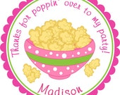 Thanks For Popping Over Popcorn Party Personalized Stickers - Party Favor Labels, Birthday Stickers, Movie, Baby Shower - Choice of Size