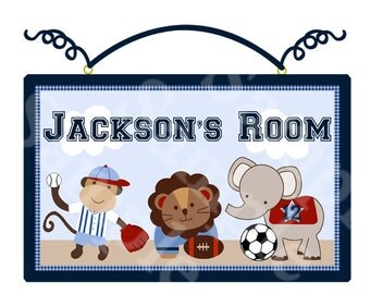 Team Mates/Sports Animals/Soccer Elephant/Lion Football/Monkey Baseball Wood Sign/Plaque Nursery Decor Personalized with any Name or Text