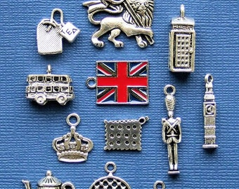 London Charm Collection Antique  Silver Tone The Ultimate 12 Different Charms - COL194
