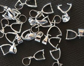10 Pinch Clip Bail Beads Silver Tone - FD05