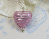 Pink Murano Heart Pendant, Murano Venetian Glass Striped Rose over Silver Heart Pendant with Swarovski Crystal & Sterling Silver
