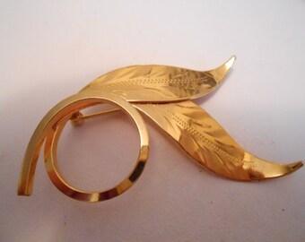 """Vintage brooch, signed """"BondBoyd GF"""" brooch, designer brooch, etch golden leaf  brooch, designer brooch, vintage jewelry"""