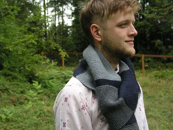 Light Gray, Dark Gray, Knit Swatch Scarf