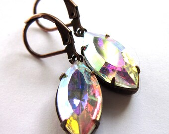 Claw Set Evening Earrings Navette Glass Fashion Jewelry