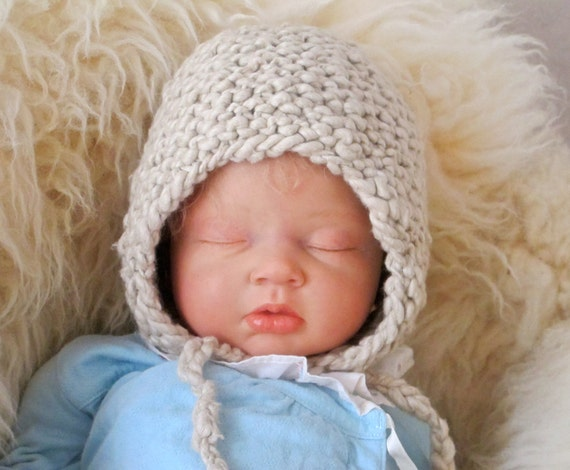 Baby Bonnet Knitting Pattern : Chunky Organic Baby Bonnet Knitting Pattern by broodbaby on Etsy