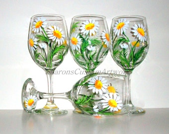 Springtime White Daisies Hand Painted Wine Glasses Set of 4 / 20 oz. Wine Glasses Painted Wine Handpainted  Wine Glasses Daisy, Wedding Gift