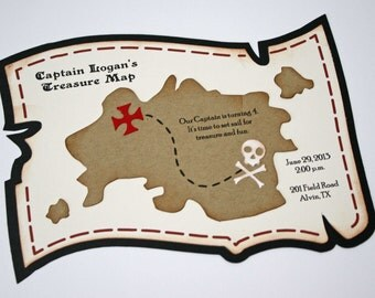 Pirate invitations - Treasure Map invitations for Pirate birthday party, set of 12