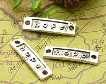 10pcs 10x35mm antique silver hope Connectors Bracelet Connectors Pendant Charms with 2 Rings