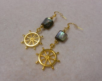 Handmade Gold Nautical Earrings, Abalone Earrings, Boating Earrings