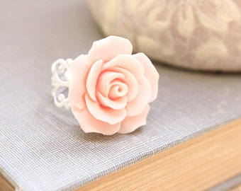 Pink Rose Ring, Large Rose Ring, Adjustable Ring, White Lace Filigree, Shabby Cocktail Ring Stocking Stuffer, Handmade Gifts Under 20