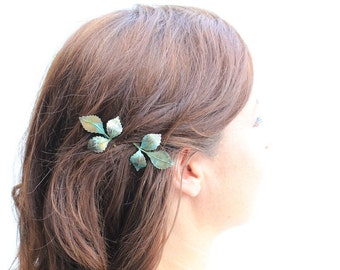 Leaf Bobby Pins Leaves Branch Patina Verdigris Green Woodland Wedding Hair Accessories Hair Slides Pair of Leaves Nature Bridal Accessories