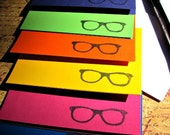 Geek Glasses - (6) Blank Hand Stamped Note Cards w/envelopes