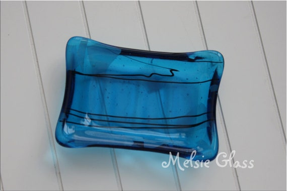 Transparent Turquoise glass soap dish with black & translucent white glass accents (A)