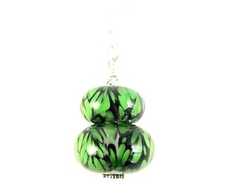 Boro Lampwork Pendant Necklace, Glass Bead Necklace, Beadwork Pendant Necklace, Lampwork Jewelry, Green Black Beaded Necklace