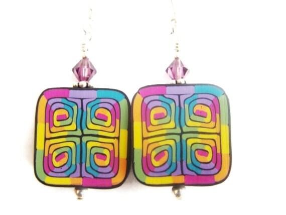 Polymer Clay Earrings, Colorful Abstract Earrings, Rainbow Earrings, Unique Earrings, Beadwork Earrings, Multicolor Earrings, Drop Earrings