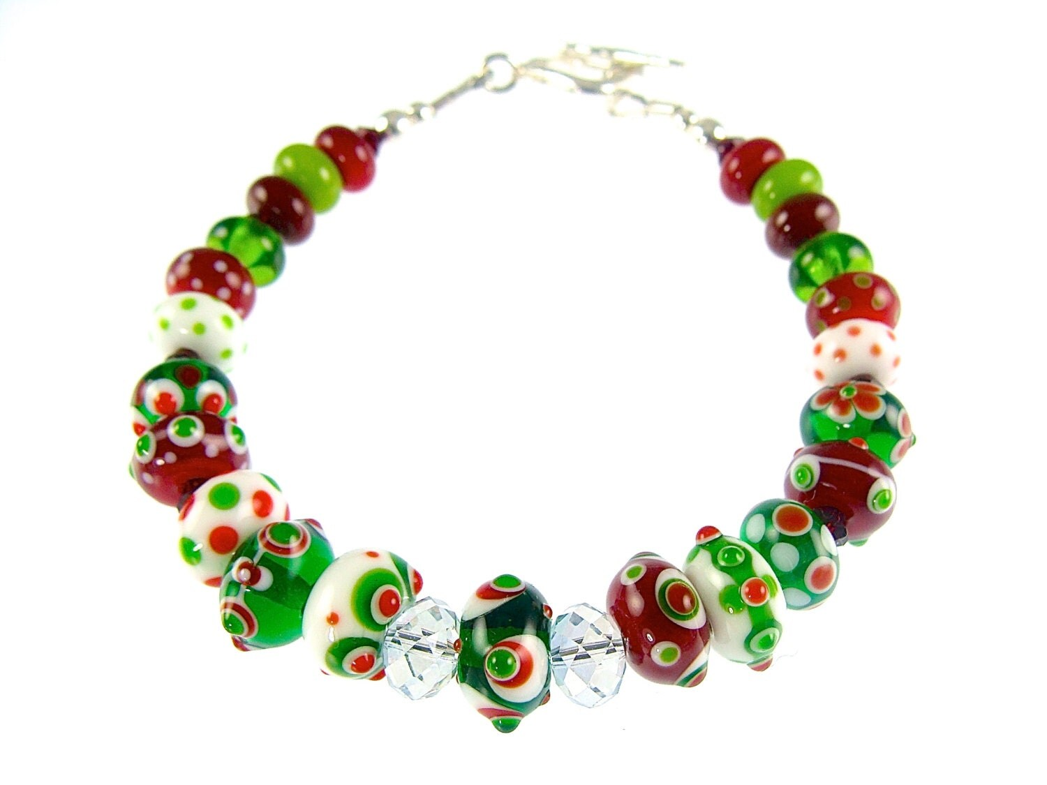 Christmas bracelet glass bead colorful lampwork