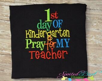 First Day of Kindergarten shirt, Custom Made, School Designs,  Boys or Girls