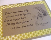Keep Me In Your Heart - Winnie the Pooh Quote - Classic Piglet and Pooh Note Card Green Border