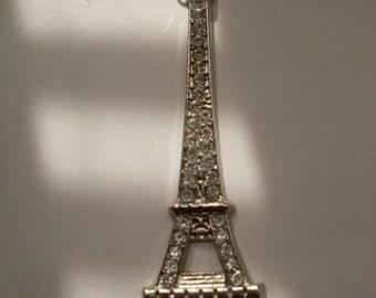 Stunning & Chic Silver Rhinestone Eiffel Tower Necklace  LJO Collection  Jewelry We Ship Internationally