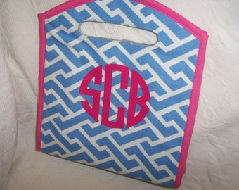 Personalized GEOMETRIC Insulated Lunch Tote Blue & Hot Pink