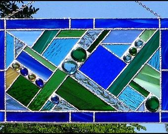 "Stained Glass Suncatcher, Geometric Design Sun Catcher, Abstract Design Sun Catcher, Glass Panel, Window Art,  9 1/2"" x15"" - 9507-BL"