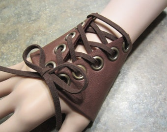 Leather Fingerless Glove Hand Jewelry Wristband Cuff Bracelet BLACK or BROWN Corset Belt Bracelet