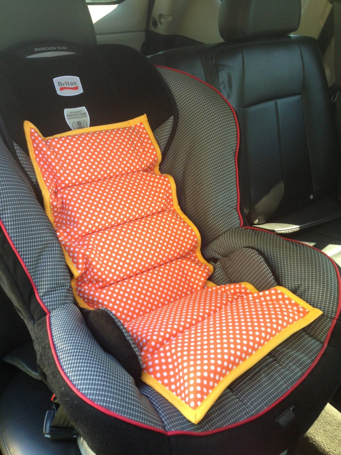 orange polka dot car seat cooler. Black Bedroom Furniture Sets. Home Design Ideas
