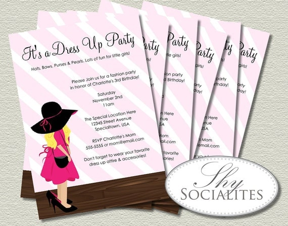 Dress Up Party Invitations Little Girl Accesories Fashion