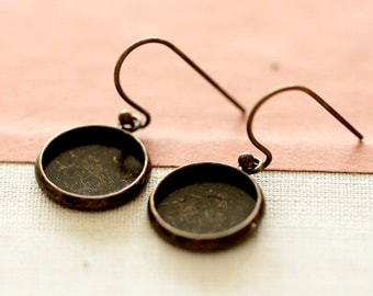 12mm Antique Bronze plated  brass Earring ear hook  Hoop with 12mm Round Pad NICKEL FREE (EAR-72)