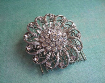 NICOLE  Silver Filigree Floral Spirals with Austian Crystals Hair Comb