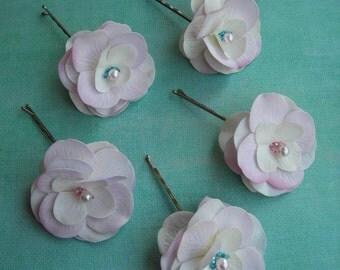 PETULA ~ Bridal Set/5 Bridal Hydrangea Flower Hair Bobbies