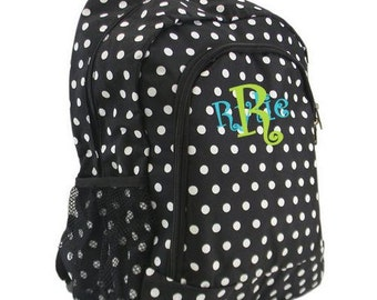"Personalized 17"" POLKA DOT Backpack  Black and White  Girls backpack"
