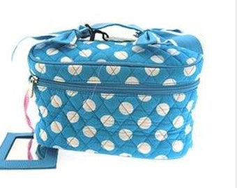 Quilted Turquoise Cosmetic Case POLKA DOT COSMETIC Case Travel