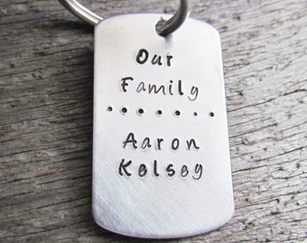 Our Family Key Chain Personalized Nmaes Keychain Dog Tag Hand Stamped Brushed Aluminum Keychain Kids Names Great Gift For Mom or Dad
