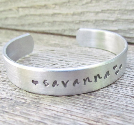 Bracelet Custom Name Hand Stamped Cuff Aluminum TODDLER Size Word or Name Personalized