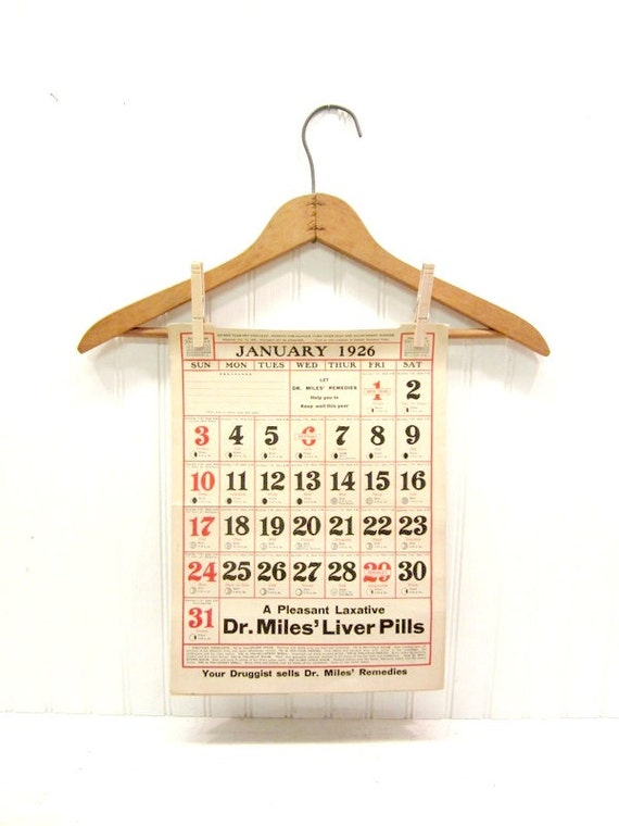 Antique 1920s Advertising Paper Calendar