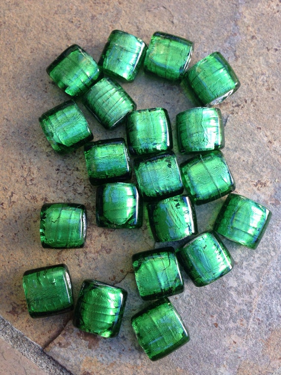 Green foil lined glass beads square by marketplacebeads