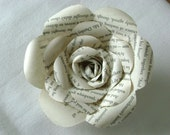 Book page Harry Potter paper rose made from recycled upcycled  books for wedding bouquets or brooch pins boutonnieres