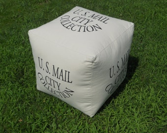 """Pouf - Hassock - Ottoman - U.S. Mail City Collection - 18"""" X 18"""", made-to-order, custom"""