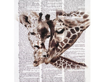 Giraffe Family Print on a Vintage Dictionary Page