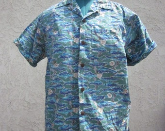 Mens Shirt Crazy Fish Short Sleeve