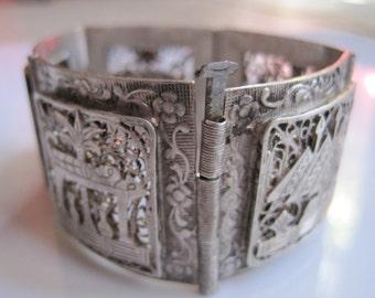 Vintage Egyptian Bracelet - Silver Art Deco Bracelet