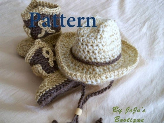 Crochet Baby Cowboy Hat And Boots Pattern Free : Cowboy Hat and Boots PATTERNS Baby Cowboy Hat and Boots Set