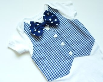 Little Man Navy Blue Gingham Tuxedo Bodysuit with Removable Bow Tie