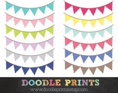 Buntings Pennant Banner - Patterned Triangle Banner - Digital Scrapbook Clip Art Printable -  Personal and Commercial Use - Instant Download