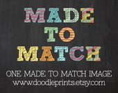 1 ONE Made To Match Image from any Premade Invitation Design from Doodle Prints Shop