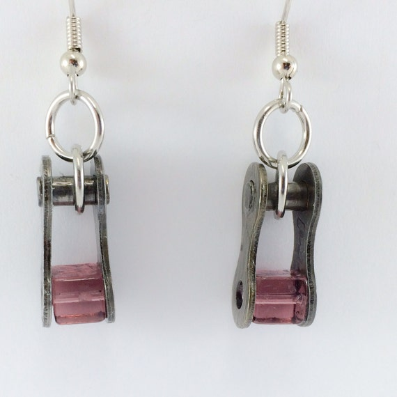 Cycling earrings recycled bicycle chain purple glass bike jewelry