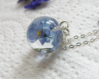 Forget me Not Necklace, Jewelry Gift for Her, Remembrance Necklace, Dainty Necklace, Christmas Gift, Real Flower Jewelry